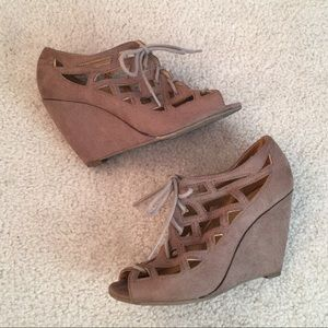 Mia Girl Lace Up Wedge Sandals